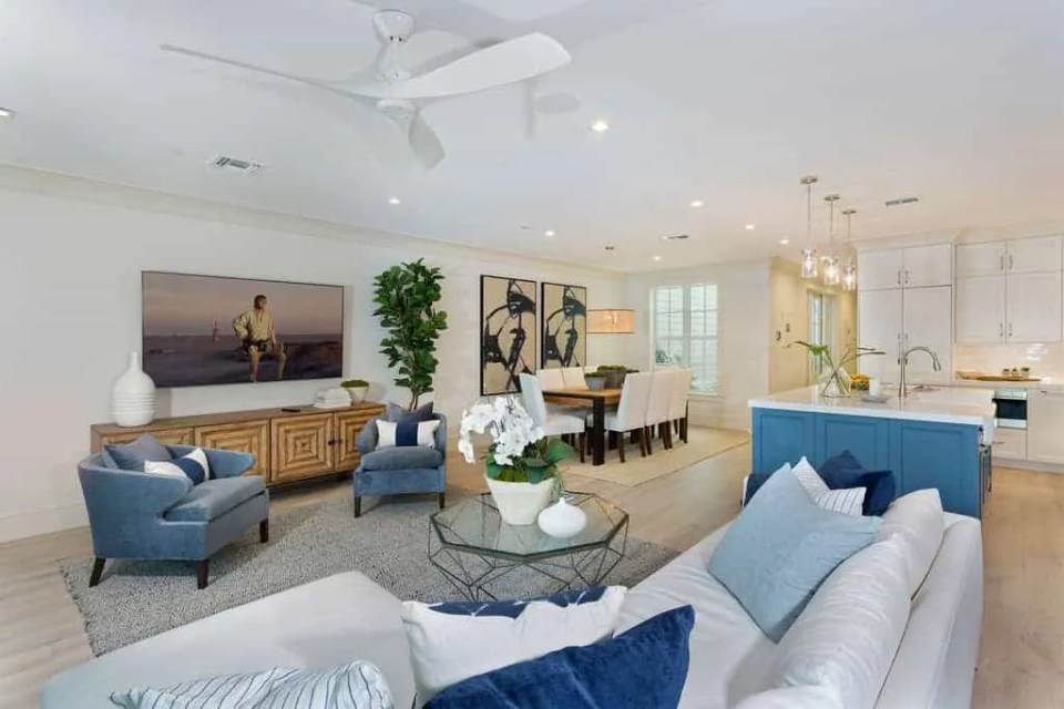 Island Contemporary - Beach House Tour - Beach House Coastal Decor Ideas - Air Bnb in Delray Beach Florida - Living Dining Kitchen