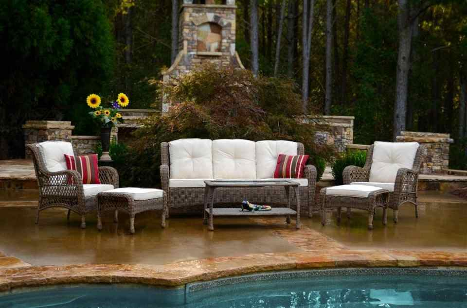 Beach House Outdoor Living Space Ideas - Brown wicker with white cushions