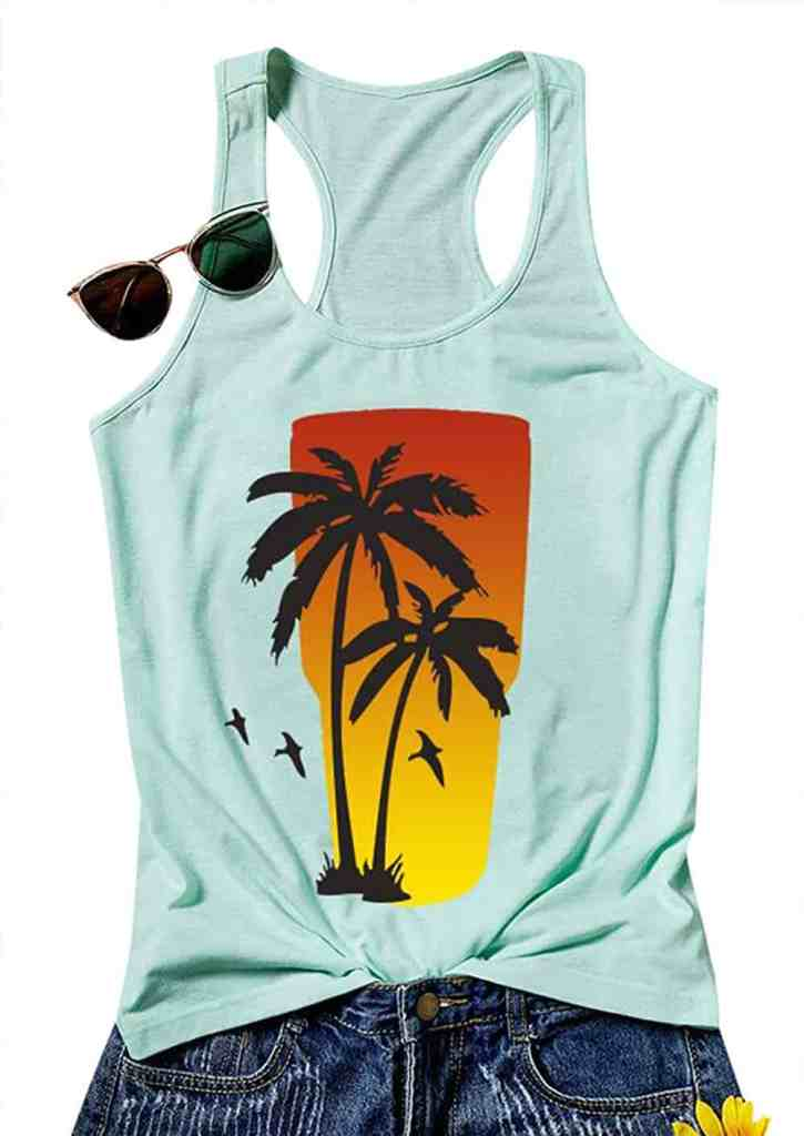 Palm Tree Print Women's Tank Top - Best Beach Vacation Tank Tops For Women