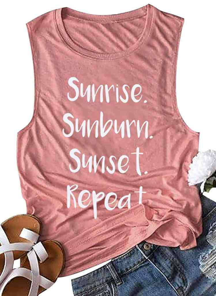 Sunrise, Sunburn, Sunset, Repeat - Best Beach Vacation Tank Tops For Women