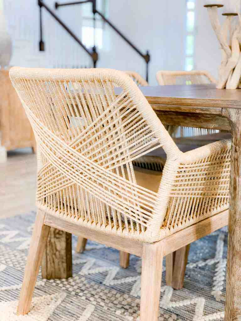 Beach Walk House Tour - Coastal Chic Design and Decor Ideas - Wicker wood dining chair