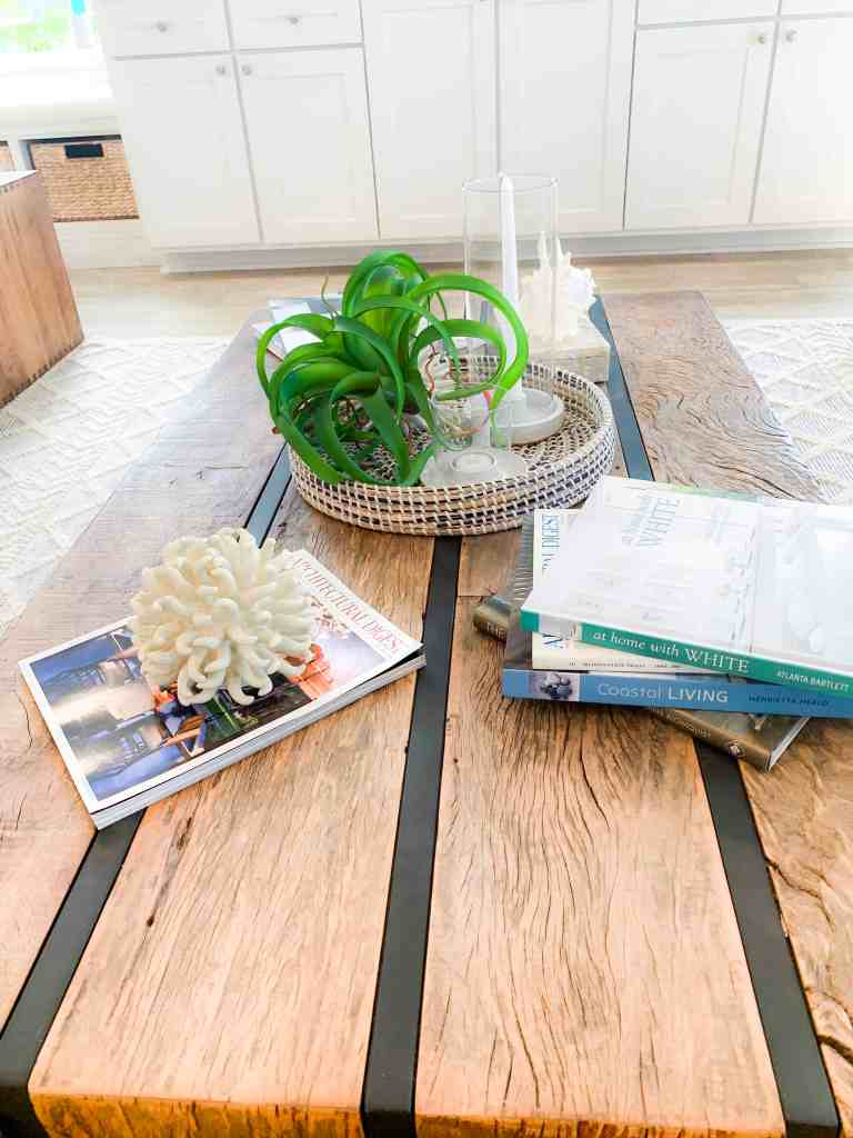 Beach Walk House Tour - Coastal Chic Design and Decor Ideas - Solid wood coffee table