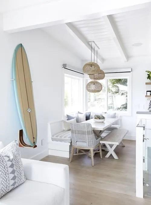 Upscale Coastal Bungalow - Airy Beach House Design - Surfboard Decor Ideas