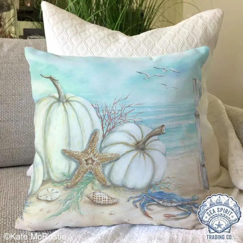 Coastal Thanksgiving Decor Ideas - Pumpkin Pillowcase