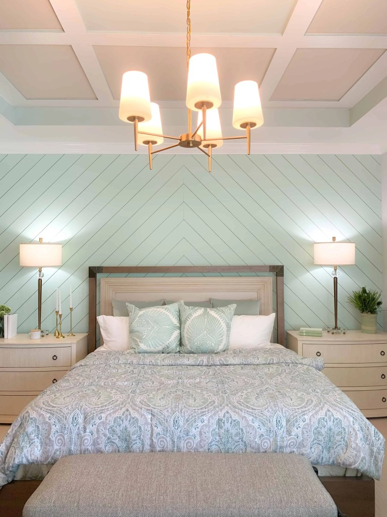 Tray Ceiling  - Seafoam Green Airy Bedroom Design