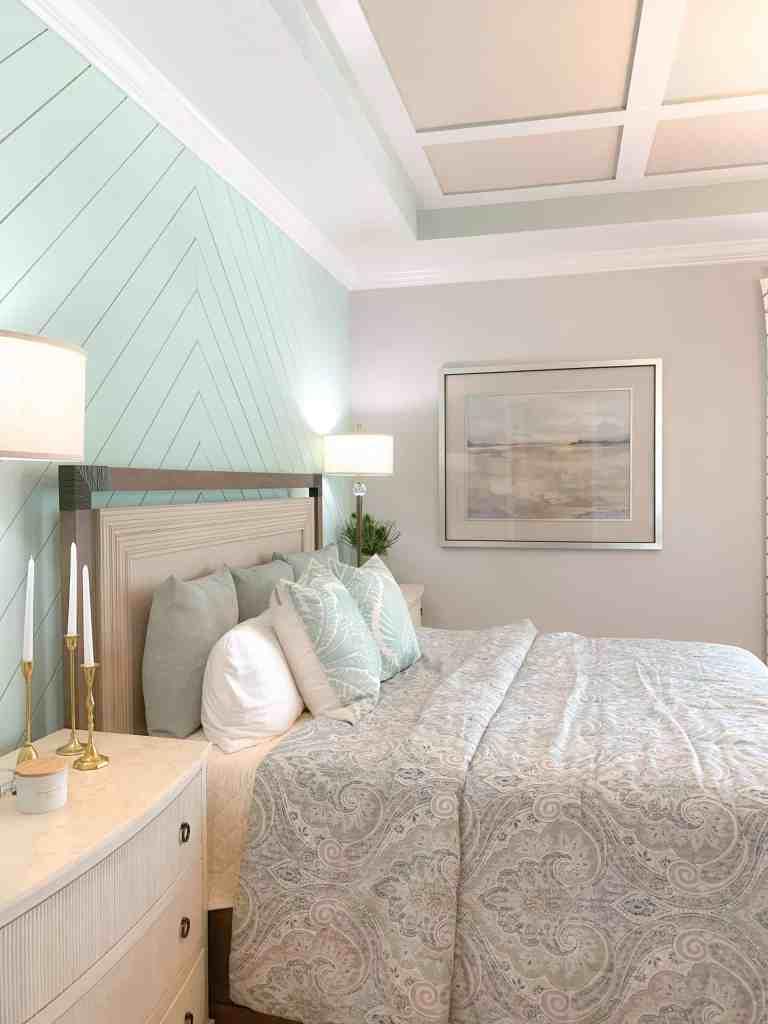 Neutral Coastal Landscape Print in Master Bedroom