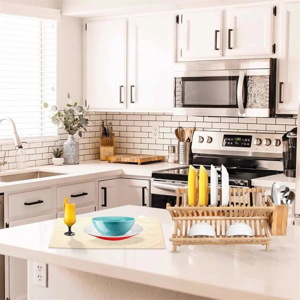 Functional Dish Drying Rack In This Organized Kitchen