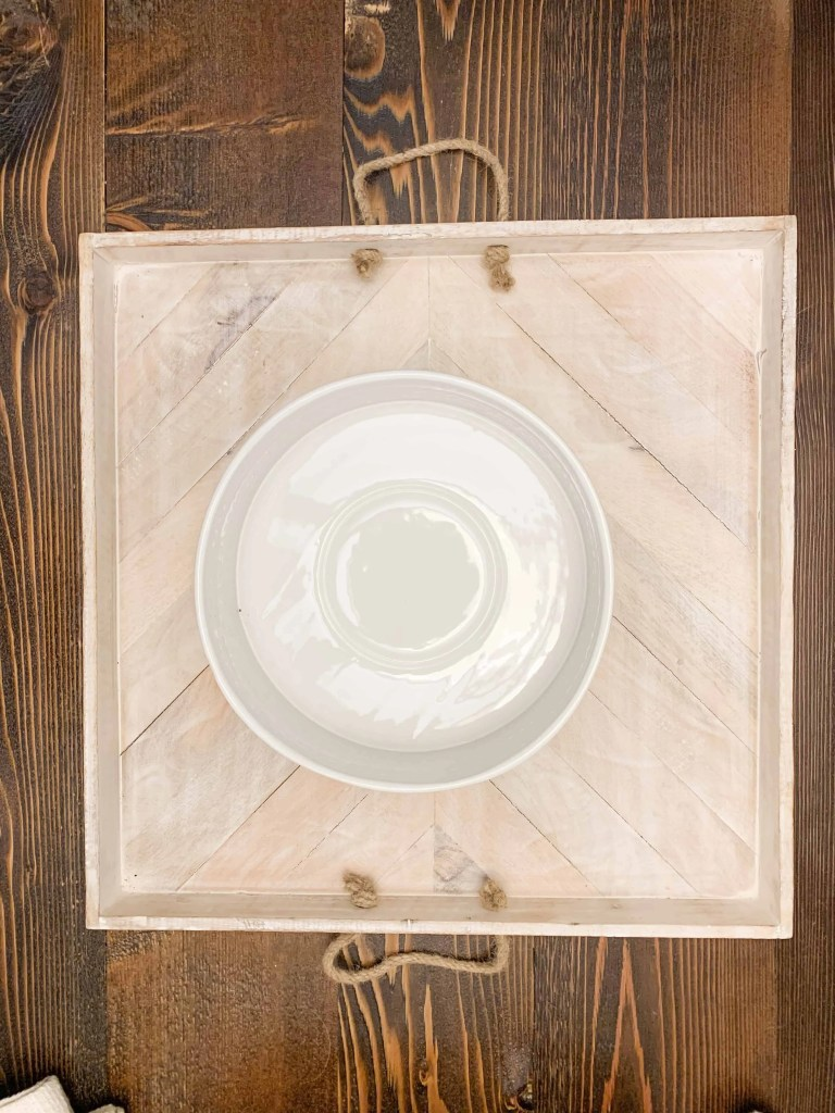 Neutral Thanksgiving Table Centerpiece White Bowl On Square Wood Washed Tray