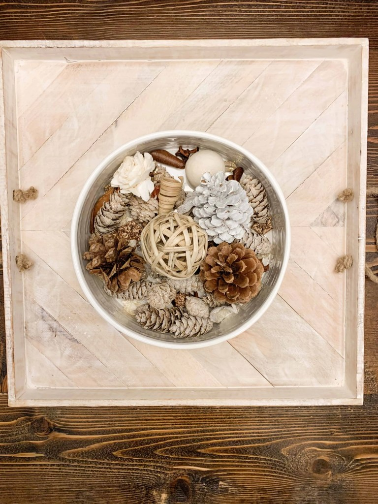 Neutral Potpourri Filled Bowl For Thanksgiving Centerpiece