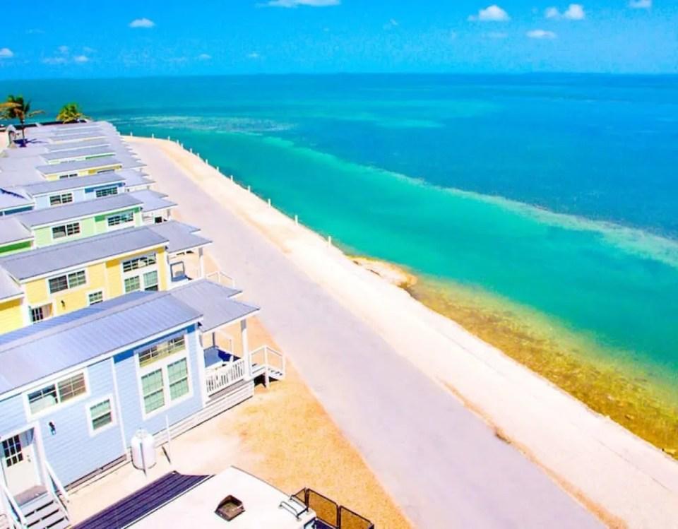 Beach Front Row Of Tiny Houses in Florida Siesta Key
