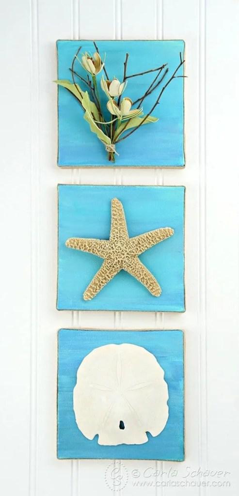 DIY Canvas Art With Sand Dollar and Starfish - an Easy DIY Beach Decor Project