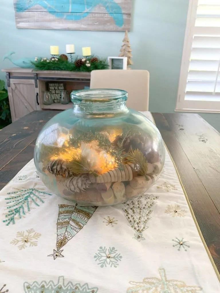 unique sea glass table centerpiece