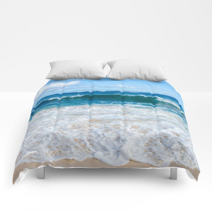 Blue ocean water comforter sea bedding beach coastal
