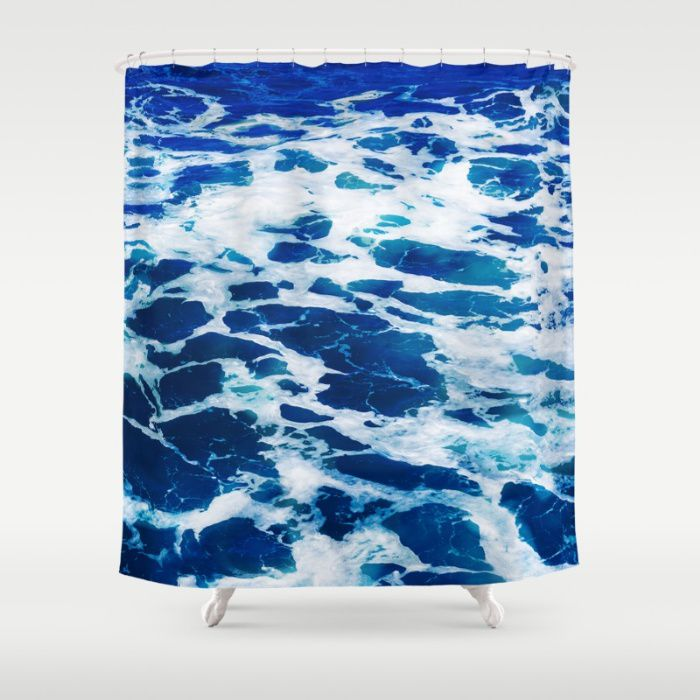 Deep Blue Malibu ocean water Shower Curtain 7174 inches