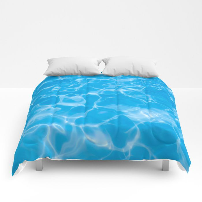 Blue water comforter ocean sea bedding Hawaii coastal style full king queen sizes beach