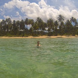 Man bathing in the clear sea with a palm clad beach in the background