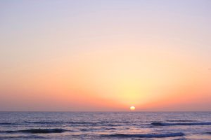 Romantic Sunset at Santa Monica Beach, California.