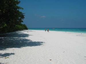 Sun-worshippers on beautiful white sand beach and turquoise water at Koh Tachai, Virgin Island, in Mu Ko Similan National Park