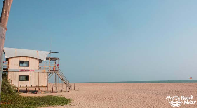 Lifeguard watchtower on a Goan beach in India.