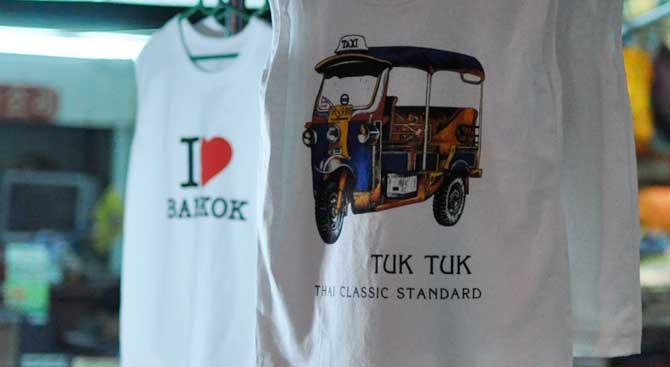 Tourist t-shirts in Thailand from Khao San Road showing a tuk-tuk and an I love Bangkok print.