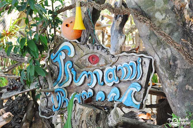 Sign of Tsunami Bar on Koh Chang Noi's Ao Yai Beach