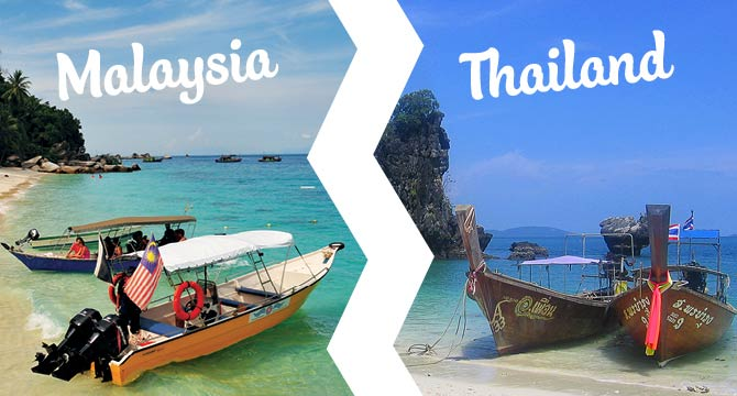 Comparison of Malaysia vs. Thailand with images of a Malaysian boat and a Thai boat both with flags.