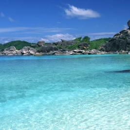Similan Islands in Thailand with stunningly clear water and beautiful landscabes