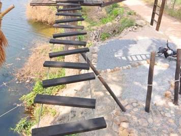 Wooden rope bridge, Kampot Zipline River Park