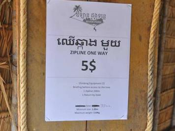 Zipline 5 USD sign, Kampot