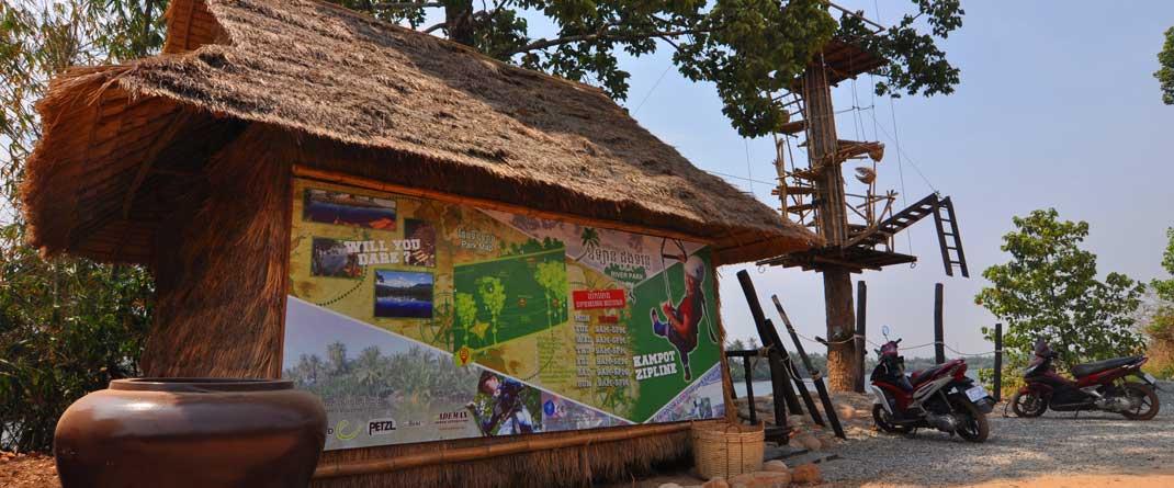 Kampot Zipline River Park in Cambodia offering cheap ziplining adventures