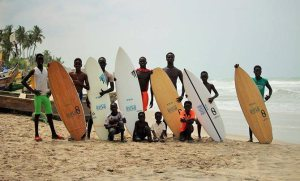 Young African surfers on Kokrobite Beach.
