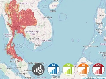 Thailand celluar phone coverage map from AIS