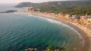 Birdview of Kovalam Beach in Kerala, India