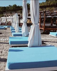 Beach beds on Caleton Beach in Odessa by the Black Sea