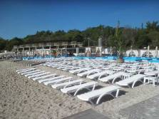Beach beds lined up at Odessa beach