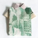 structural packaging design: Dollar bill as shirt