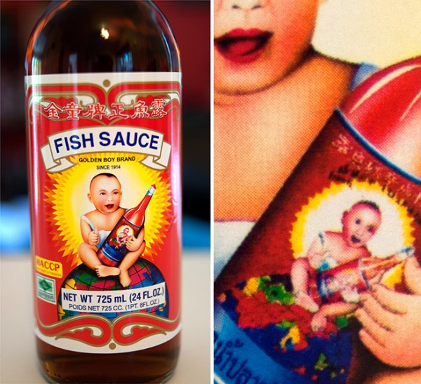 Golden Boy Brand fish sauce (Droste effect packaging)
