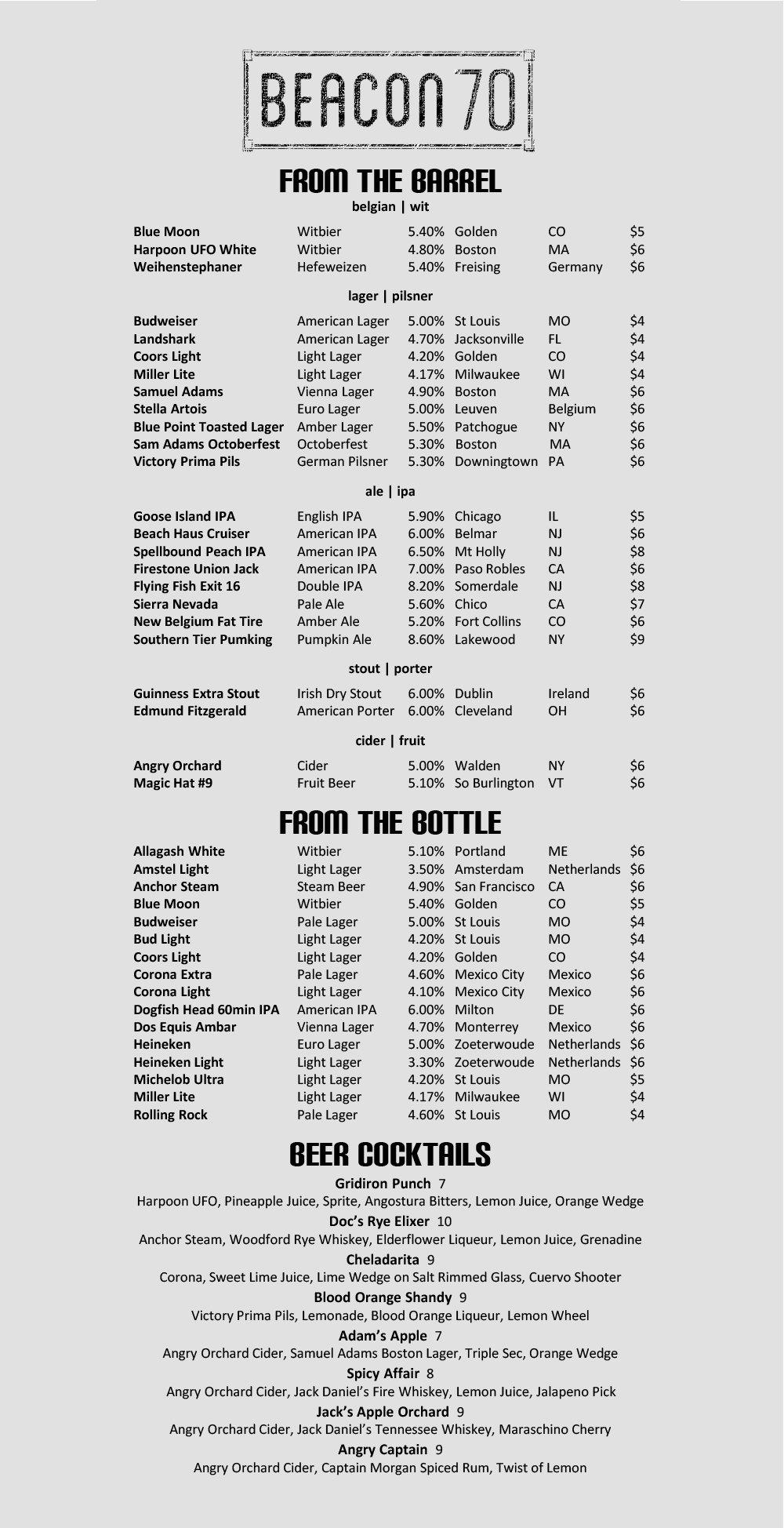Beer Menu | Beacon 70