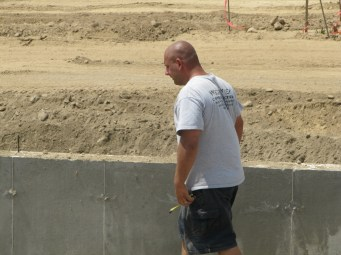 August 2, 2011 Mark Paone working on insulation for the foundation walls.
