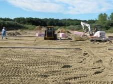 August 23, 2011 Preparing the slab for cement: Donald Wilbanks, Michaela, Hannah, Billy, Pastor Bill, Bob Vallee, & Ray Warner