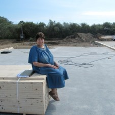 September 1, 2011 Dottie Benson checking out the foundation.
