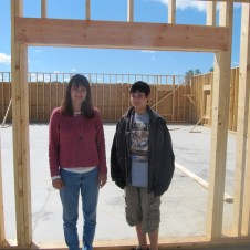 9/19/11 Paula & Mason standing at the fellowship hall doorway from the vestibule.