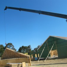 9/28/11 Crane moving Fellowship Hall gable end.
