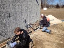 3/7/12 Matt Gedeon & Chris Kairnes putting up stone.