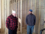 3/9/12 Ray Warner & Pastor Bill talking about the quietness of the furnace located behind the stage.