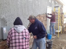 4/2/12 Ed Verra (from Good News FWB in VA) laying stone, Hannah, Christy, Gordon also pictured laying stone.