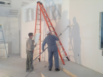 4/3/12 Ray Warner & John Buschmann painting the auditorium