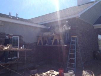 4/28/12 Matt, Christy, & Michaela working on the wall.