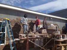4/28/12 Christy, Tammy Miller & Devan Miller laying stone