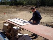 4/30/12 Luke Gedeon cutting ceiling tiles